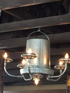 Chicken feeder chandelier...found at a restaurant
