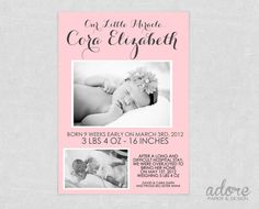 Preemie Baby Birth Announcement - CHOOSE YOUR COLORS - Printable Digital File. on Etsy, $10.00
