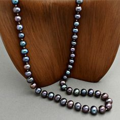Black Pearl Necklace  Peacock Pearl Necklace  Hand by BloomingOak, $50.00