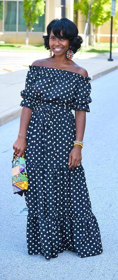 Polka Dot Dress, Maxi Dress, Indianapolis Fashion Blog, Summer Outfit Idea, Relaxed Hair,