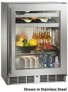 Perlick HH24BS34R 24 ShallowDepth Series IndoorUse Beverage Center with Rapidcool Forced Air Refrigeration System Stainless Steel Interior and 700 BTU VariableSpeed Compressor Fully Integrated Glass Door Hinge *** Click image for more details.