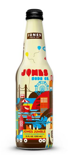 Jones Soda bottle design    One of these days, I'd really like to try my paw at designing soda packaging.