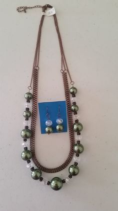 Green and cooper necklace with matching earrings