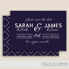 Double Sided- Navy and White- Save the Date by MadeByBree