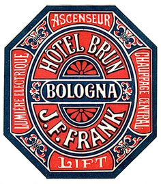 Luggage Label from Hotel Brun in Bologna - great way to use couple languages