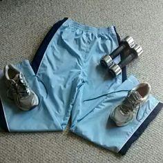 Workout pants Light blue with dark blue stripes elastic waist Athletech Pants