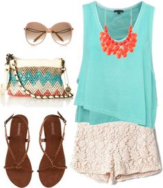 casual--aqua shirt and lace white shorts, minus the necklace, my name is all over this outfit. I Love Fashion, Passion For Fashion, Womens Fashion, Fashion Trends, Beach Fashion, Summer Outfits, Cute Outfits, Vegas Outfits, Summer Shorts