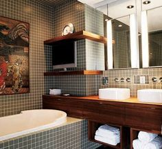 masculine bath ..like layout/design, but would prefer larger tiles..love colors-gray, white, & warmer wood.