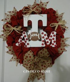 Texas A&M deco mesh wreath. Be sure to check out my page and like it on facebook CJ'S DECO MESH