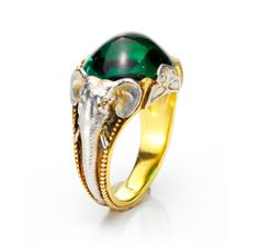 A Tourmaline and Gold Elephant Ring