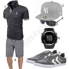 Graues Herren-Outfit mit Poloshirt und Shorts (m0448) #outfit #style #fashion #menswear #mensfashion #inspiration #shirt #cloth #clothing #männermode #herrenmode #shirt #mode #styling #sneaker #menstyle