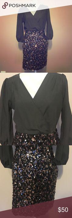 Selling this Black long sleeve dress w/ sequin skirt in my Poshmark closet! My username is: ericagillian. #shopmycloset #poshmark #fashion #shopping #style #forsale #Ark & Co #Dresses & Skirts