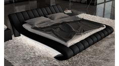Lit design noir et blanc avec lumière et simili 160x200 cm Brewer -  GdeGdesign c6f07ec39c67