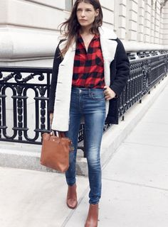 "madewell shearling car coat worn with the flannel ex-boyfriend shirt, 9"" high riser skinny skinny jeans, mini transport crossbody bag + ryan chelsea boot. #denimmadewell"