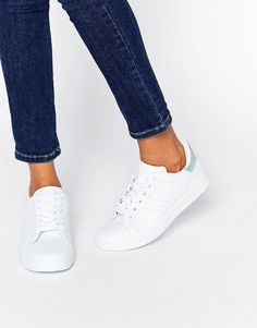 Buy it now. Missguided Silver Tab Trainers - White. Trainers by Missguided, Faux-leather upper, Lace-up fastening, Padded cuffs for comfort, Metallic ankle detail, Chunky sole, Flex-groove tread, Wipe clean, 100% Other Materials Upper. ABOUT MISSGUIDED With an eye on the catwalks and hottest gals around, Missguided's in-house team design for the dreamers, believers and night lovers. Taking the risks no one else dares to, its bodycon dresses, crop tops and ripped denim are your standout style…