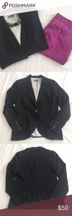 "Vince | Black Single Button Blazer | Size: 8 Vince | Black Single Button Blazer | Size: 8 | Good Condition | True to Size | Slightly Discoloration on Inside of Jacket from Wearing | Pet/Smoke Free Home | Viscose Blend | Bust: 34"" Length: 25"" Vince Jackets & Coats Blazers"