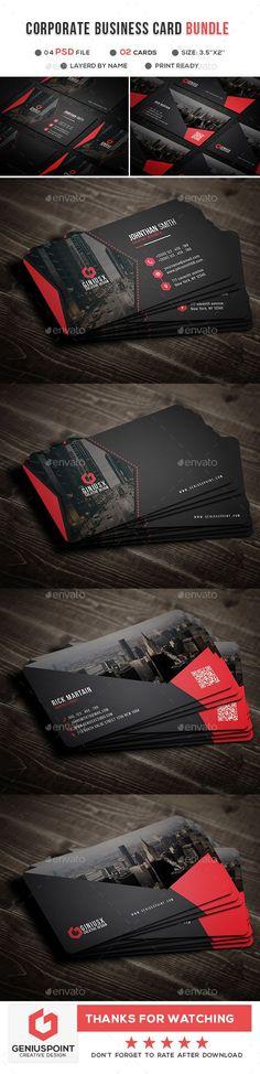 Corporate Business Card Template PSD Bundle #BusinessCards