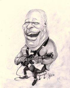 Caricatura de BB King por Caricaretos