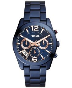 Gleaming rose gold-tone accents highlight the blue dial of this stunning timepiece from Fossil's Perfect Boyfriend collection. | Blue stainless steel bracelet | Round case, 39mm | Blue multifunction d