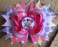 Daisy Duck Minnie Mouse Inspired Custom Boutique Hair Bow for Disney World Vacation Mickey Mouse Clubhouse