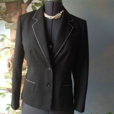 7ea3c16a0a8 Details about Jones New York Petite Women s Black Strip Long Sleeve Blazer  Suit Jacket Size 10