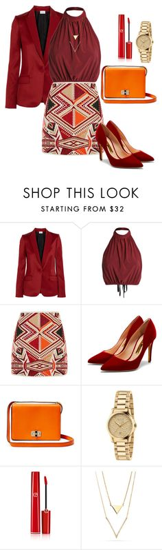 """""""Business look??? """" by jolka-krawiec ❤ liked on Polyvore featuring PALLAS, Topshop, Rupert Sanderson, Gucci and Giorgio Armani"""