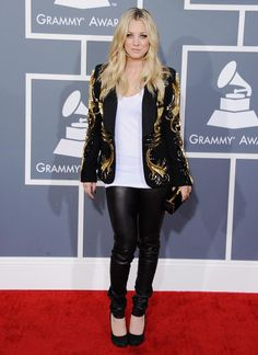 Leggings, simple top, flashy blazer, flats. (Kaley Cuoco)