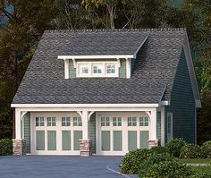Plan 29869RL: 2 Car Garage With Shed Dormer