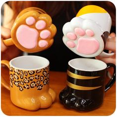 www.sanrense.com - Cute kawaii cat claw ceramic cup SE10058
