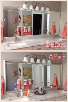 How To Frame Your Boring Bathroom Mirror This Is Just Stuck The Using A Very Strong Double Sided Adhesive Install Took Less Than 10