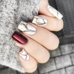 "5,784 Likes, 17 Comments - @chinaglazeofficial on Instagram: ""@nailsbystine gave her marble mani an ""extra fall-dimension"" by using Short & Sassy on her accent…"""