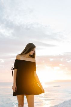 Beach sunset for senior pictures | Black off the shoulder dress outfit inspiration | Pure7 Studios: Rosemary Beach, 30A & Destin FL Photographer #seniorpictures #color #bold #posing #ideas #outfits #fashion