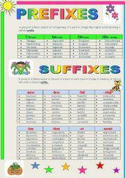 English worksheet: Word-Formation   Prefixes and Suffixes