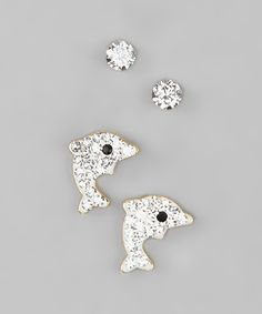 ReLex White Dolphin Stud Earrings Set Made With SWAROVSKI ELEMENTS by ReLex #zulily #zulilyfinds