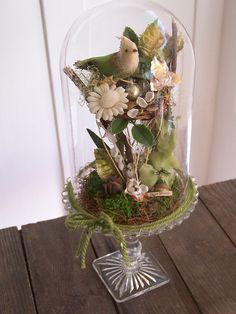 Bird at Home Bell Jar Assemblage by the wonderful Katie Runnels