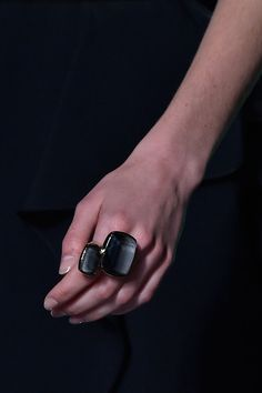 Elie Saab at Paris Spring 2015. This large, dark statement ring is really neat.