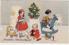 Künstler AK WEIHNACHTEN um 1928 Kinder unterm Weihnachtsbaum, Puppen    ( 64015