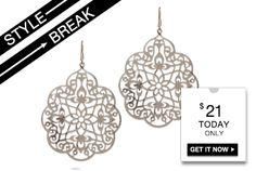 #STYLE #BREAK! Get the Arlene Earrings for #$21. #Today #only! Dont forget #Mother's #Day next week! Visit my site #today for a $10 off coupon code
