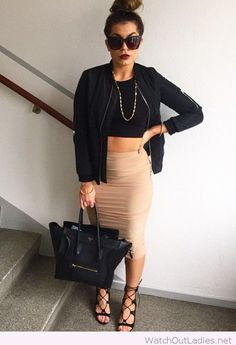 Nude skirt, black top and jacket