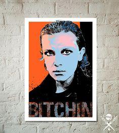 Stranger Things Eleven Bitchin Art Print, Netflix fan art illustration, Stranger Things Poster, geek decor, Stranger Things gift