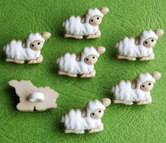 TINY SHEEP - Baby Animal White Lamb Wool Farm Shepherd Nativity Spring Easter Dress It Up Craft Buttons