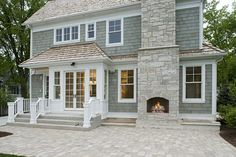 exterior fireplace, patio.