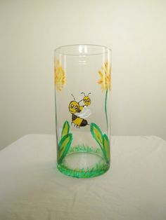 Hand Painted Glass Vase Flower and Bee by PelekeArt on Etsy