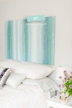 DIY Linen Art | Style Me Pretty Living | #diy, #abstract-art, #artwork, #bedroom, #blue Photography: Ruth Eileen - rutheileenphotography.com