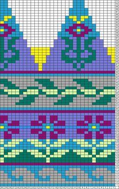 Tricksy Knitter Charts: hat flowers by SBanta Tapestry Crochet Patterns, Fair Isle Knitting Patterns, Fair Isle Pattern, Knitting Charts, Knitting Stitches, Punto Fair Isle, Fair Isle Chart, Chart Design, Flower Hats