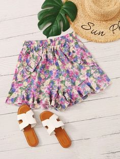 ((Affiliate Link)) Description Style:	Boho Color:	Multicolor Pattern Type:	Floral, All Over Print Details:	Ruffle Type:	Wide Leg Season:	Summer Composition:	100% Polyester Material:	Polyester Fabric:	Non-stretch Sheer:	No Fit Type:	Loose Waist Type:	Mid Waist Closure Type:	Elastic Waist