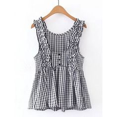 Checkered Frill Trim Sleeveless Top Size Available: S,M,LType: SlimSeason: Spring,SummerPattern Type: PlaidSleeve Length: SleevelessColor: Black and WhiteMater…