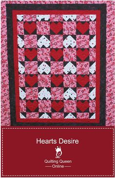 Hearts Desire Quilt Pattern in 5 Sizes Valentine's Day