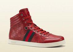 GUCCI: Guccissima Leather Hi-Top Sneaker: $590