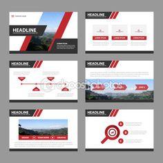 Télécharger - Modèles de présentation rouge noir infographie éléments version plate pour brochure de flyer brochure marketing publicité — Illustration #107435374